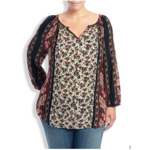 Lucky Brand Floral Scarf Print Peasant Top